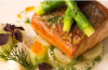 Pan Roasted Fillet Of Salmon & grilled Asparagus and dill Beurre Blanc